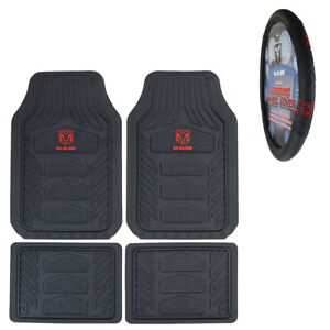 5pc Dodge Ram Car Truck Rubber All Weather Floor Mats Steering Wheel Cover Set