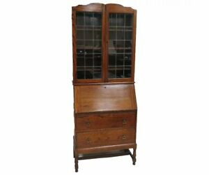 Antique English Secretary Desk With Lead Glass Bookcase Top