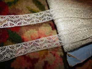 2 Yds Antique Vintage French Silver Metallic Insertion Lace Trim 3 4 Width
