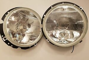 H4 Headlight H3 Fog Driving Mk1 Golf Jetta Rabbit Cabriolet 7 Round Lights Pair