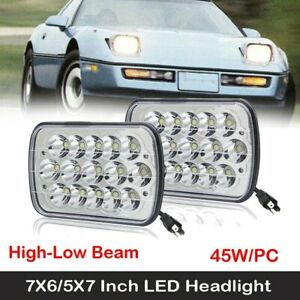 Two Led 5x7 Inch Led Headlight Replacement For 1984 1996 Chevy Corvette C4 2pc