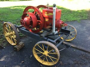 Galloway Hit Miss Gas Engine 7 Hp On Cart Clutch Pulley Antique Vtg Stationary