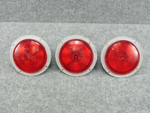 3 Vintage Betts Machine Company Model B70a B70 Red 6 Marker Signal Lights