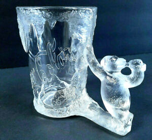 Coca-Cola Mugs Lot of 2 Heavy Glacier Clear Glass Polar Bear Handles Coke - EC