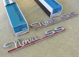 Nos 1963 65 Chevy Ii Nova Ss Rear Quarter Panel Name Badge Emblem Gm 3832828