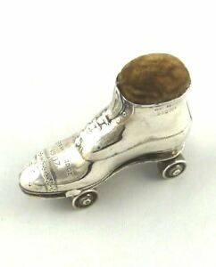 Antique Sterling Silver Novelty Pin Cushion English Roller Boot Or Skate 1909