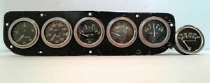 Vintage Sw Stewart Warner Gauge Gauges Set Oil Water Volts Amps Vacuum