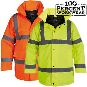 Heavy Duty Waterproof High Visibility Padded Parka Coat Jacket Hood Hi Viz Vis