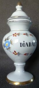 19c Antique French Hand Painted Apothecary Pharmacy Chemist Porcelain Jar Gold