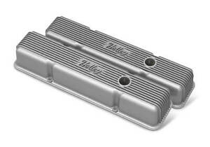 Holley 241 240 Sbc Vintage Series Finned Valve Covers Natural Cast Finish