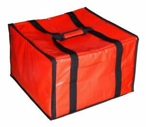 Red Insulated Pizza Delivery Bag Heavy Duty For Travel Long Straps Accessories
