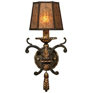 Fine Arts Lamps Charred Iron 1 Light Wall Sconce With Hand Decorated Mica Shade