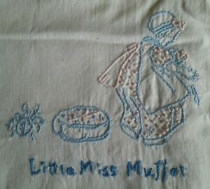 Antique Vintage Hand Embroidered Baby Crib Quilt Nursery Rhymes 35 X50
