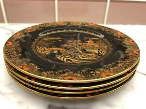 Set 4 Plate Crown Staffordshire Porcelain Booth S Willow Chinoiserie Black Gold