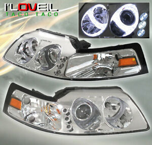 99 04 Ford Mustang Twin Halo Led Projector Head Lights Lamps Chrome Housing Lens