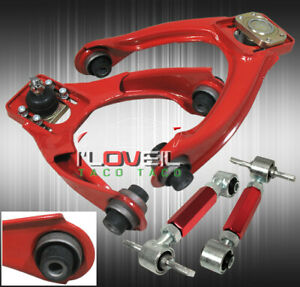 For 96 00 Honda Civic Ek Adjustable Front Upper Rear Adjustable Camber Kit Red