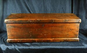 Antique 19th Cen Pine Tool Or Keepsake Chest W Sq Nails