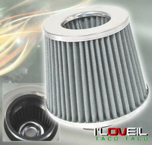 3 High Flow Washable Car Truck Cold Air Intake Short Ram Filter Silver Acura