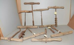 10 Antique Farm Tool Drill Auger Boring Hook Collectible Timberframe Display Lot