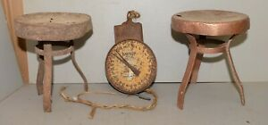 2 Antique Metal Milking Stools Dairy Scale Collectible Farm Primitive Tool Lot