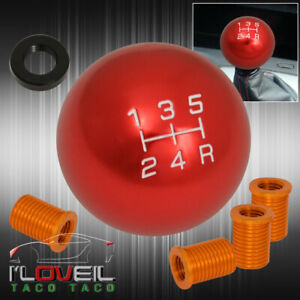 Universal M12x1 25 5spd Round Shift Knob Lever Threaded Adapter Kit Interior Red
