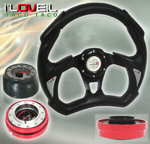 new 93 97 Del Sol All Black Steering Wheel Adapter Hub Quick Release Red