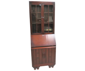 Antique English Secretary Desk With Bookcase Top 1936