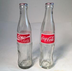 2 Coke Coca Cola Glass Bottles with Caps Spanish