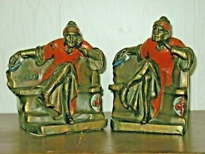 Bronze Antique Cold Painted Bookend Seated Mongolian Lords Throne Chair