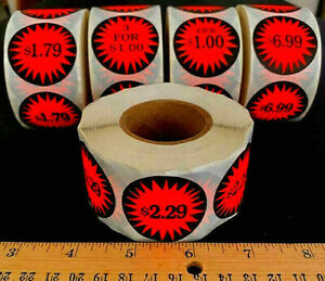 Roll Of 500 u pick Retail Store Garage Sale Burst Price Stickers Labels Tags