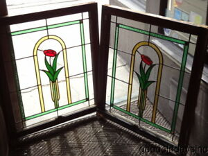 Pair Of Antique Chicago Bungalow Style Stained Leaded Glass Windows 28 X 33