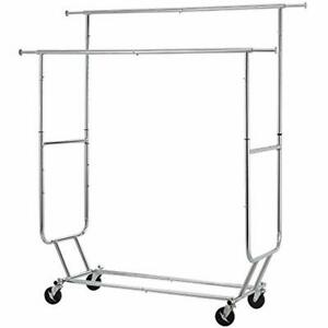 Heavy Duty Clothes Rack Sturdy Double Rod Garment Large Collapsible Rolling With
