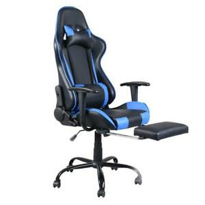 Executive Swivel Office Chair Race Car Style Bucket Seat W Footrest Pu Leather