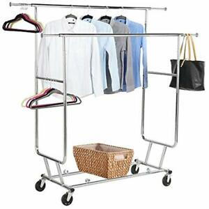 Commercial Grade Double Rail Rolling Collapsible Clothing Garment Rack Chrome