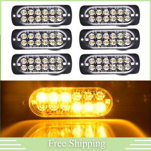 6 Amber Oval 12led Strobe Light Bar Hazard Beacon Flash Warn Emergency Lamp Suv