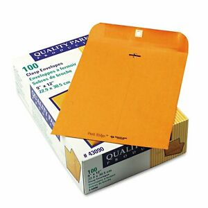 Quality Park Park Ridge Kraft Clasp Envelope 9 X 12 Brown Kraft 100 box