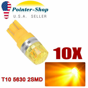 10x Amber Yellow T10 192 Led Side Marker Dome Door Car Light Bulbs 3000k 168 194