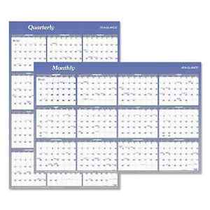 At a glance Vertical horizontal Erasable Wall Planner 24 X 36 2019