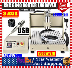 3axis 1 5kw 6040 Cnc Machine Router Engraver 3d Engraving Drilling Carving Kit