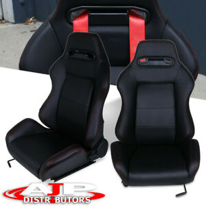 2x Type R Fully Reclinable Racing Seat Seats Adjustable Slider W Red Stitch