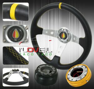 4pc Slim Quick Release Hub Horn 350mm Racing Racing Yellow Steering Wheel S13