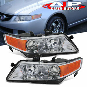 Replacement Chrome Housing Amber Headlights Lamps Pair For 2004 2008 Acura Tsx