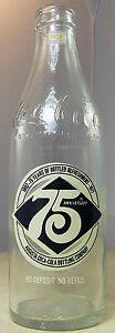 Coca Cola 75th Anniversary Bottle Coke 10 oz Augusta Empty 1902 -1977
