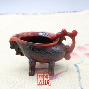 China Old Beijing Old Ox Horn Carving Cup Double Dragon Three Foot Cup