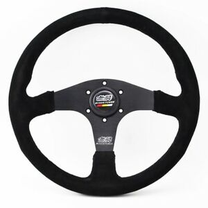 Mugen Black Color Spoke Suede Leather Mugen 14inch Racing Steering Wheel
