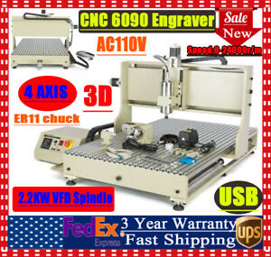 Cnc 6090 Machine Router 4 Axis Engraving Pcb Wood Diy Milling Engraver New Usb