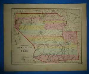 Vintage 1857 Utah New Mexico Territory Map Old Antique Original Atlas Map