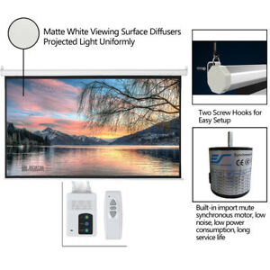Hd 92 16 9 Hd Foldable Electric Motorized Projector Screen remote White Leadzm