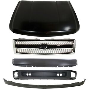 Bumper Kit For 2007 2013 Silverado 1500 Light Duty Front With Primed Hood 5pc