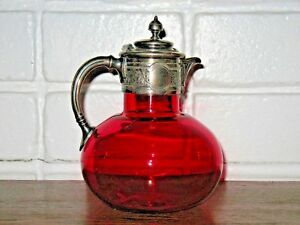 Victorian Cranberry Glass Decanter Applied Silver Top Cir 1870s Nice Antique